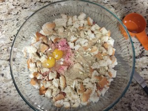 Add bread crumbs, eggs & seasonings