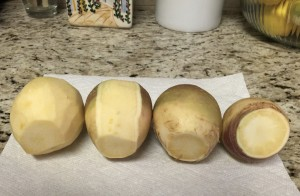 Peeling the rutabagas