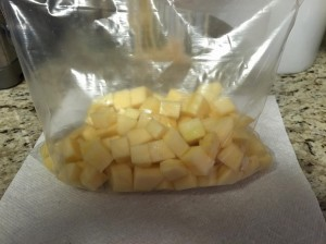 Cubed rutabaga for roasting