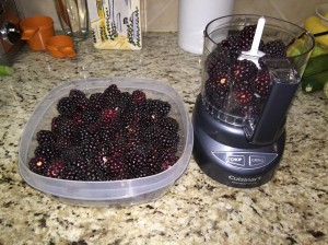 Crush boysenberries for jam, jelly or juice with a food processor