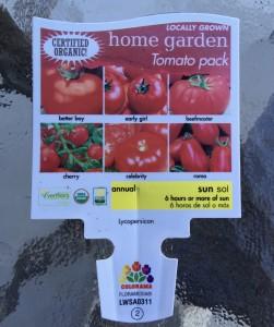 Tomato Six Variety Six Pack Label