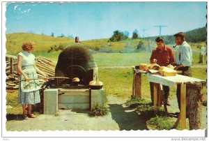 Typical family Gaspe bread oven along the road, circa 1961