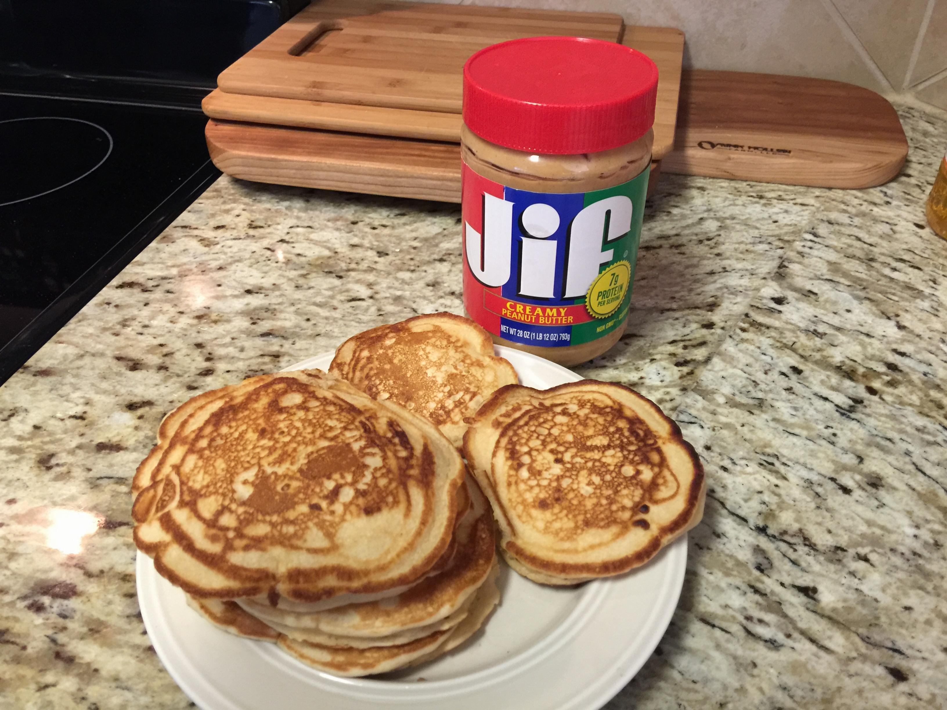 Pancakes with peanut butter in them