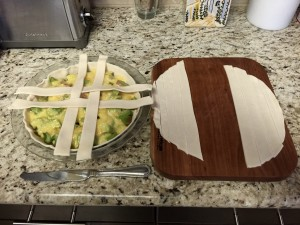 Start the lattice by slicing in 1/2 to 3/4 inch strips