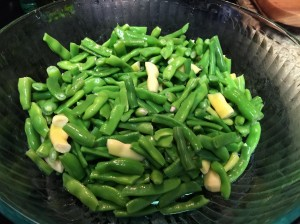 Blanched beans ready for packaging