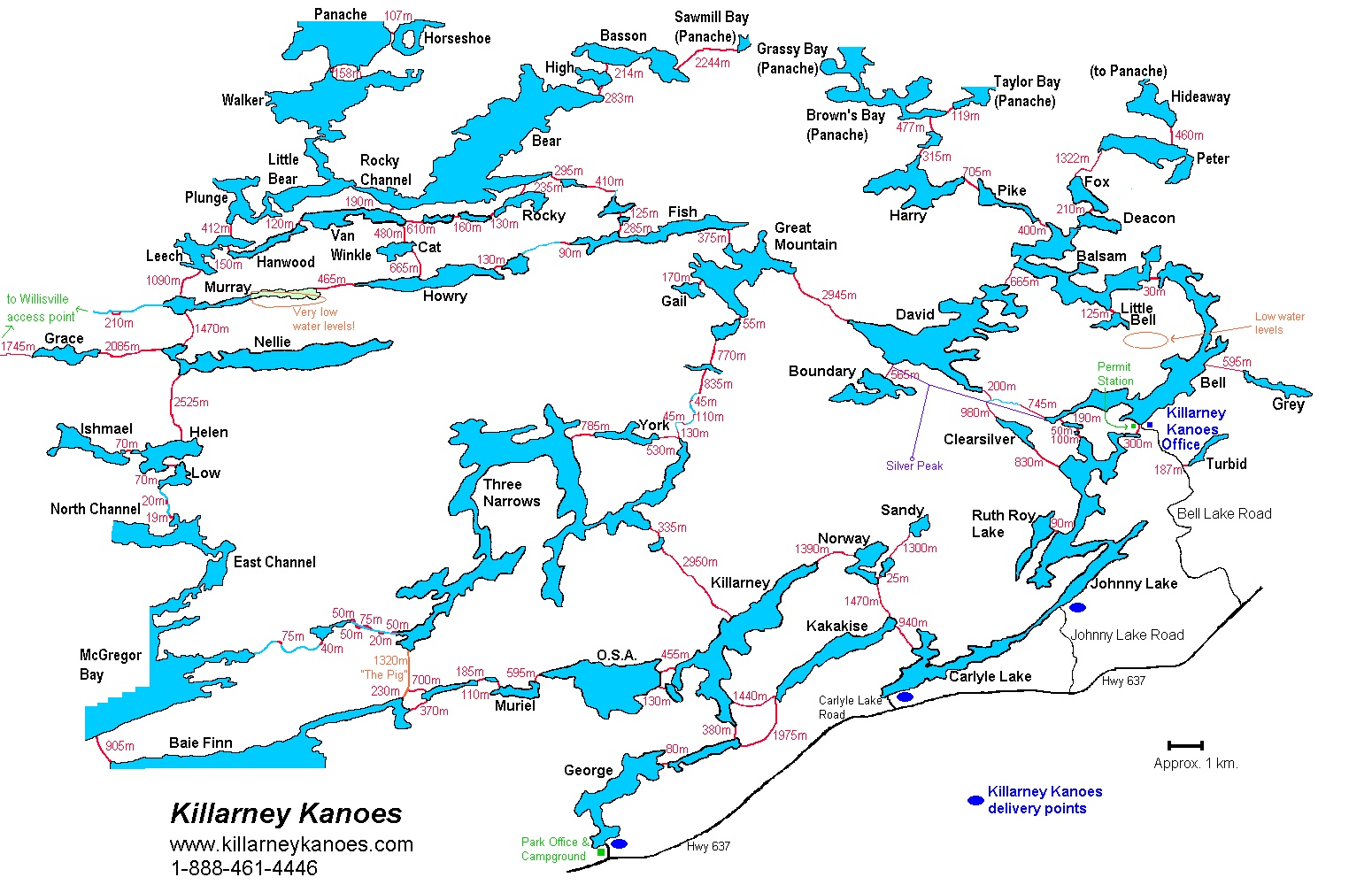 Killarney Provincial Park map with portage distances