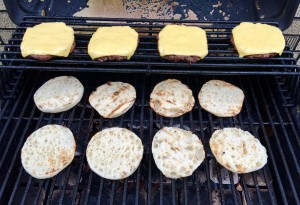 Grilling the burgers with toasted English Muffins and Sharp Cheddar Slices!